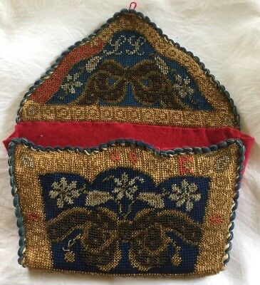 Victorian Beadwork Embroidery Hanging Wall Pocket