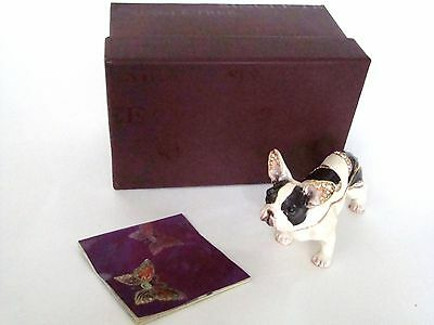 Jeweled Trinket Hinged Box - French Bull Dog