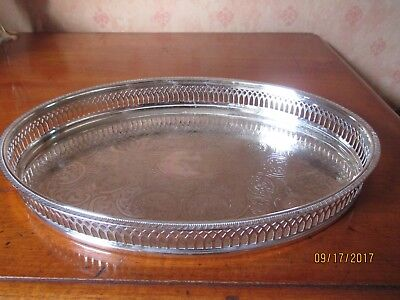 silver plate oval gallery tray