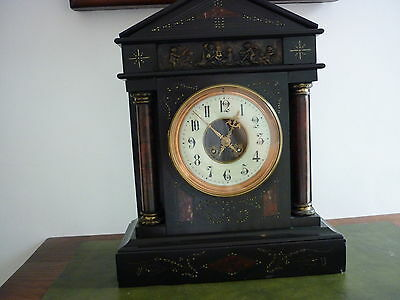 French Black Marble Clock By Honore Pons Of Paris.