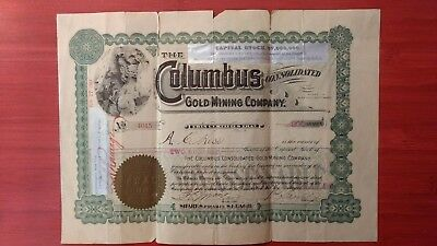 The Columbus Gold Mining Co.   1907 stock certificate.  Scripophily Collectable