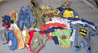 Lot of 40 pieces Baby Boys 0-3 month clothing nice mix lot fall and winter C7 D7