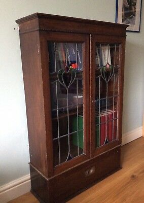 Arts and Crafts Leaded Glazed Oak Bookcase Coloured Glass