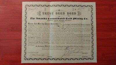 The Amanda Gold Mining Co.   1907 Trust Deed Bond.  Cripple Creek Scripophily!