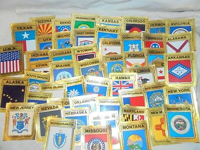 Vintage 1972 Gulf Oil gas station state medallion stickers lot of 50
