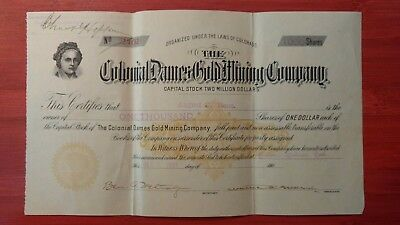 The Colonial Dames Gold Mining Co.  1901 stock certificate w/ Martha Washington.