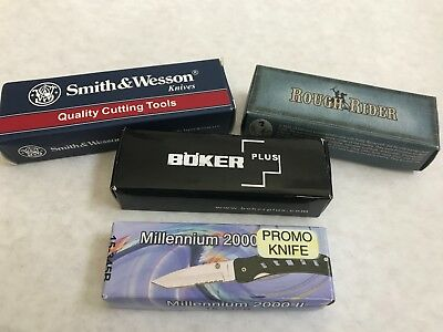 1- Lot of Pocket Knives - Boker, Rough Rider, Smith and Wesson + Promo Knife