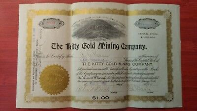 The Kitty Gold Mining Company.  1902 stock certificate. Scripophily Collectable.