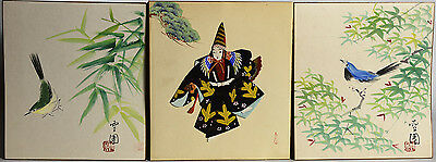 3 Old Japanese Watercolors on Paper Unframed - Birds Calligraphy Kimono Figure