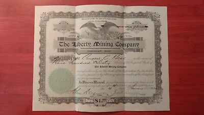 The Liberty Mining Company.  1922 stock certificate. Scripophily Collectable.