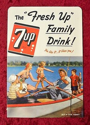 """Vintage 7-Up Store Display Counter Card - """"fresh Up"""" Family Drink 1950 - Unused"""