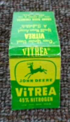 "RARE 1950s-60s JOHN DEERE ""VITREA"" FERTILIZER MATCHBOOK..FULL"