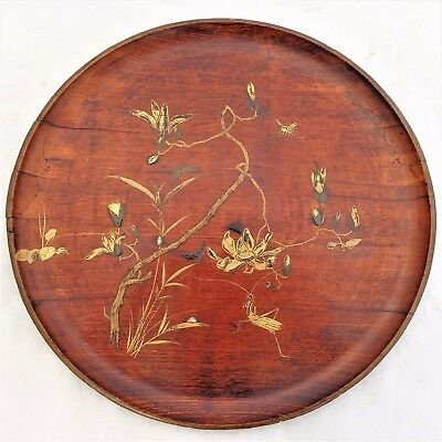 Antique Japanese Shibayama Round Wooden Tray Mother of Pearl Bovine Bone Insects