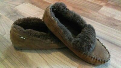 Mens L.L. BEAN MOCCASIN BROWN SLIPPERS Size 11M