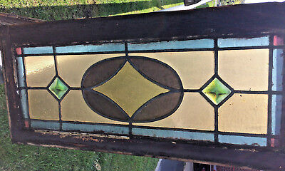 Small Antique Stained Glass Window Sash Old Shabby Victorian Chic 31-1/2 x 14