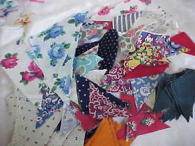Lot 115 Grandma's Antique Quilt Triangle Material Pieces Small/large Unfinished