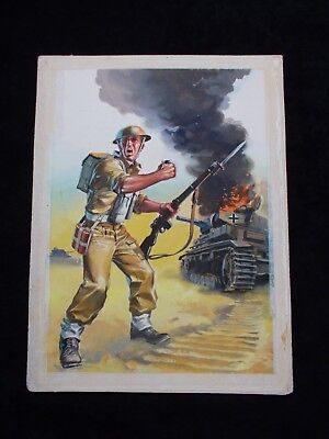original watercolour comic artwork for war picture library by nino caroselli