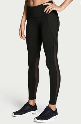 Victoria's Secret Sport Black Moto Mesh Knockout Tight Yoga Leggings Black-Large
