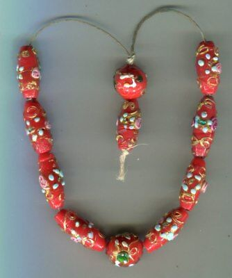 Antique Vintage Venetian glass beads old red wedding cake beads