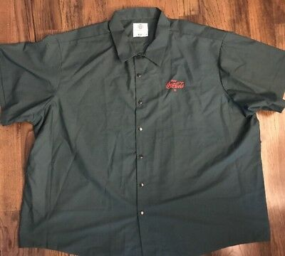 Vintage GREEN  Coca Cola UNIFORM SHIRT RIVERSIDE 4XL Short Sleeves