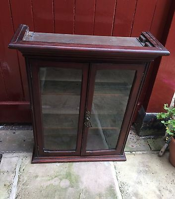 Quirky Victorian Vintage Mahogany Glazed Wall Display Cabinet Cupboard Bookcase