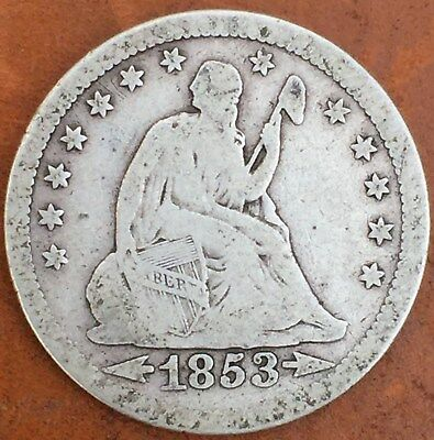 1853 Twenty-Five Cent Arrows and Rays Liberty Seated Quarter