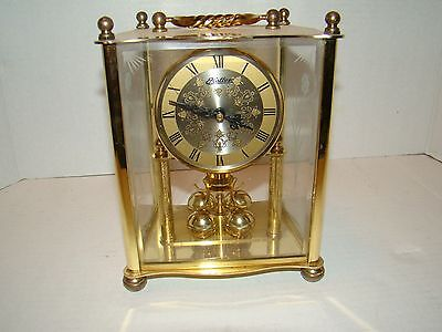 Vintage Haller Square Brass Etched Beveled Glass Mantel Clock Not working AS-IS