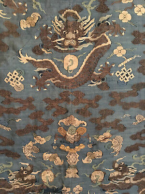 A Large Chinese Qing Dynasty Kesi Dragon Panel.