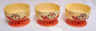 THREE Vintage Tony the Tiger Plastic Cereal Bowls Frosted Flakes 1981 Bowl
