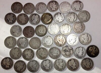 SILVER COINS - ROLL OF 40 -US BARBER QUARTERS 90% Silver - dates range 1892-1916