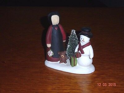 New Blossom Bucket Amish Woman With Tree And Snowman
