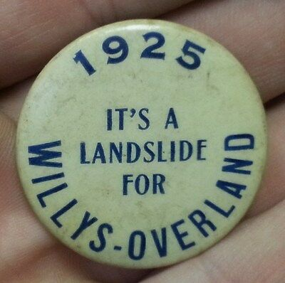 Old 1925 WILLYS OVERLAND Car Automobile Celluloid Advertising POCKET MIRROR