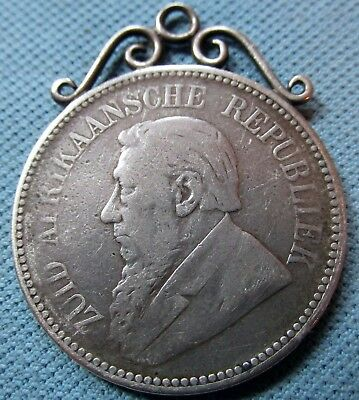 1897 South Africa ZAR 2 1/2 Shillings Silver Coin  - Victorian Pendant Watch Fob