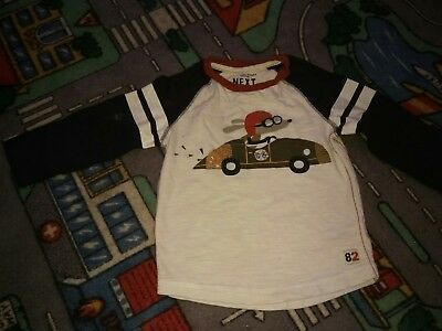 boys long sleeved top with dog driving a car on the front 18- 24 months next