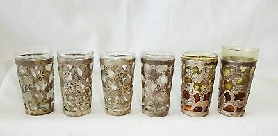 6x Mexican Shot Glasses w. Sterling Silver Overlay Design (Yir)