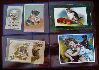 Lot of 17 Victorian era lithographed trade cards - All with cats