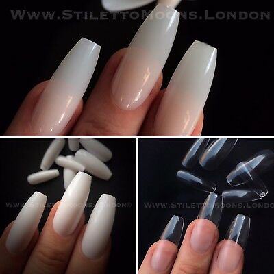 100 Pieces Extra Long Ballerina Coffin Nails Natural Full Cover