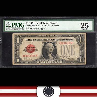 1928 $1 Legal Tender Note RED SEAL PMG 25 Fr 1500  A0614535A