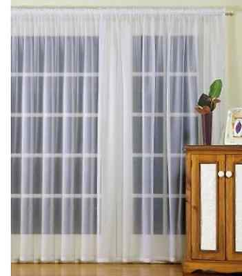 Sheer Curtain Classic Voile Rod Pocket -  6 metre x 213cm drop - White
