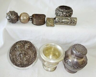 8x US Sterling Silver & Glass Mixed Lot, Tea Strainers, Shakers, Tie Clip (Yir)