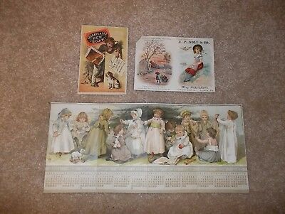 3 victorian trade cards/2 with calendars - soap, etc.