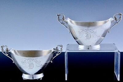 PAIR c1880 WOOD & HUGHES NEW YORK STERLING SILVER BRIGHT SAUCE DIP SERVING BOWLS