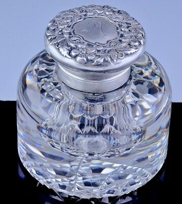 BEAUTIFUL c1900 ART NOUVEAU GORHAM Co REPOUSSE STERLING SILVER CUT GLASS INKWELL
