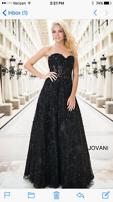 Jovani Black Strapless A-Line Prom / Mother of the Bride Dress 14913