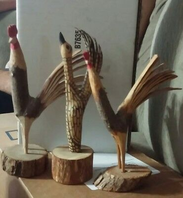 Whittled roosters