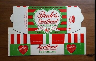 Vintage Ice Cream Carton Bresler's Sweetheart Pineapple Cherry Cocoanut 1 Pint