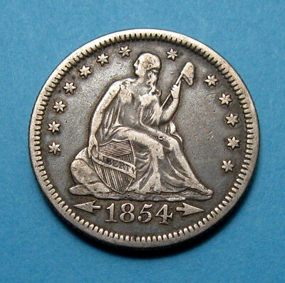 1854-O Seated Liberty Quarter ✪ With Arrows XF ✪ AC0917