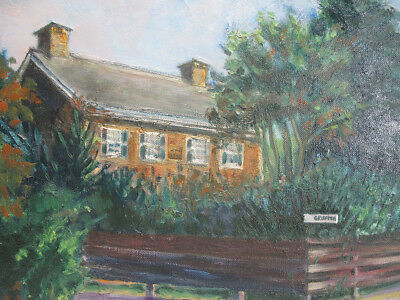 Japanese School Oil Painting Western Home Dated 1969 - Isao Akagawa SIGNED yqz