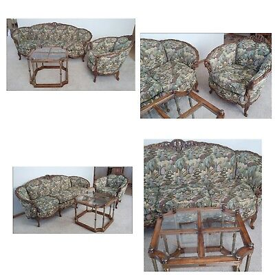 Antique Settee, Gentleman's Chair And Table, Hand-Carved, Very Sturdy