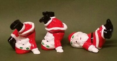 Vintage 1976 Fitz & Floyd Ceramic Tumbling Santa Figurines Lot of 3 Made Japan